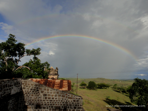 Bhuleshwar Shiva Temple in the monsoon season